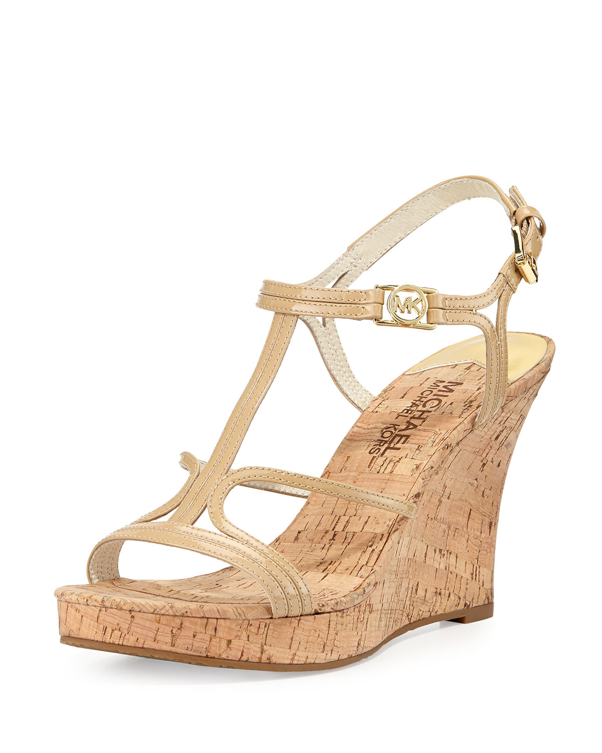 Lyst Michael Michael Kors Cicely Wedge Sandal In Natural