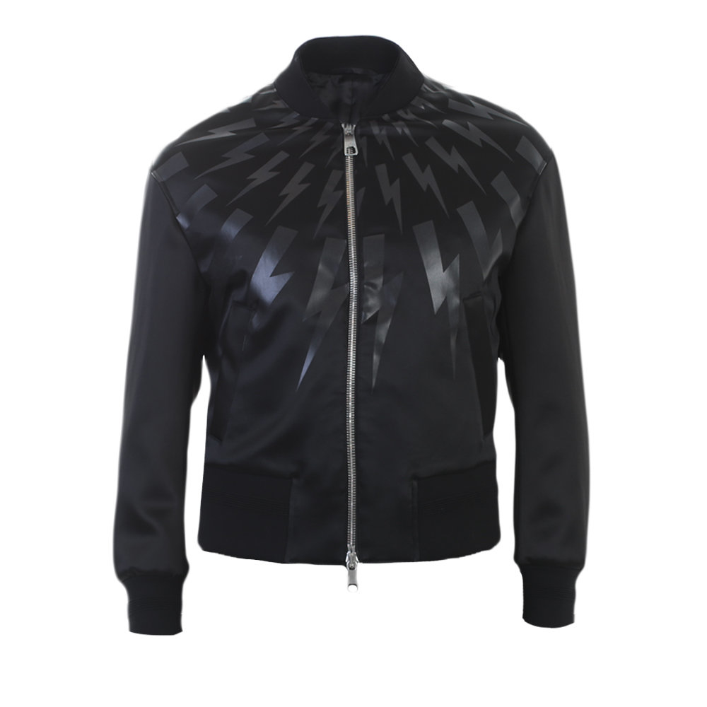 Neil barrett Black Printed Techno Fabric Bomber Jacket in Black ...