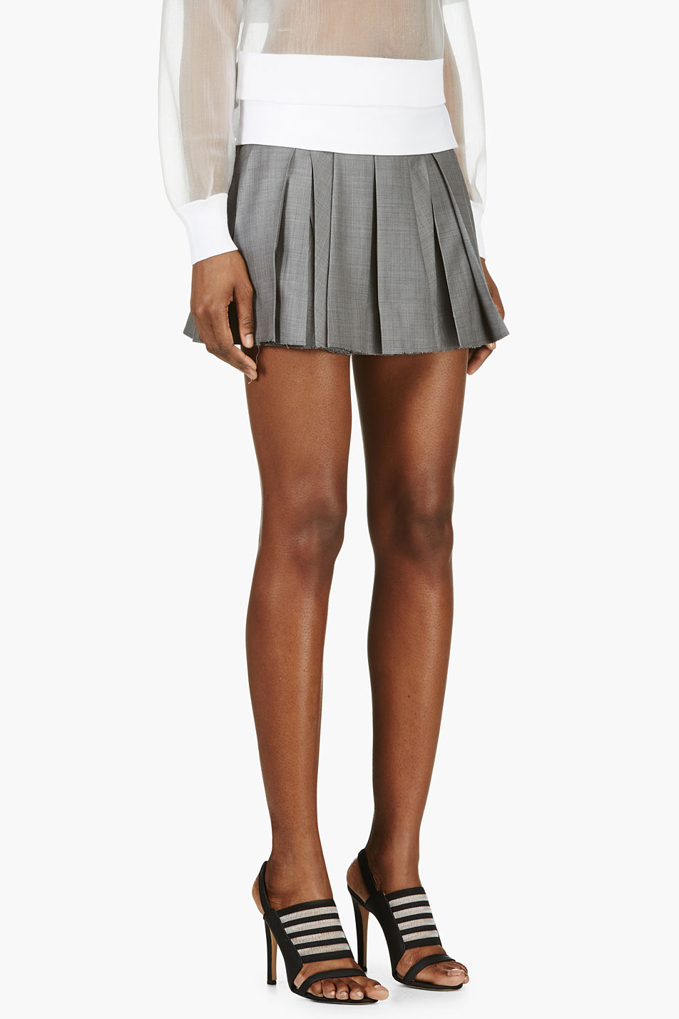 Alexander wang Grey Wool Crosshatch Pleated Mini Skirt in Gray | Lyst