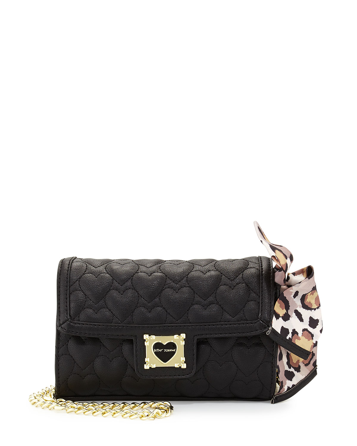 Lyst Betsey Johnson Heart Quilted Crossbody Bag In Black