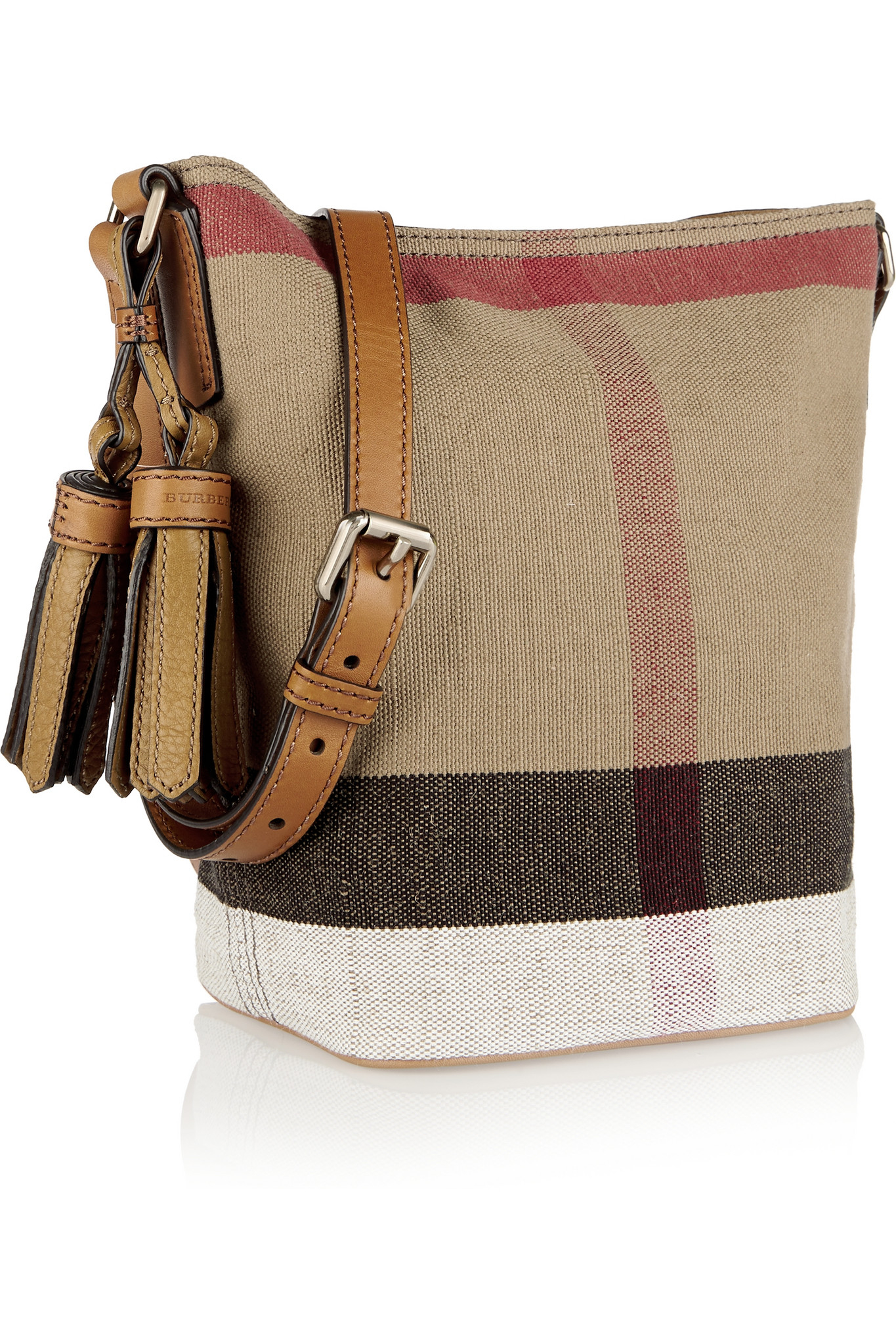 28ee28d4bf74 Lyst - Burberry Mini Leather-trimmed Checked Canvas Shoulder Bag in Brown