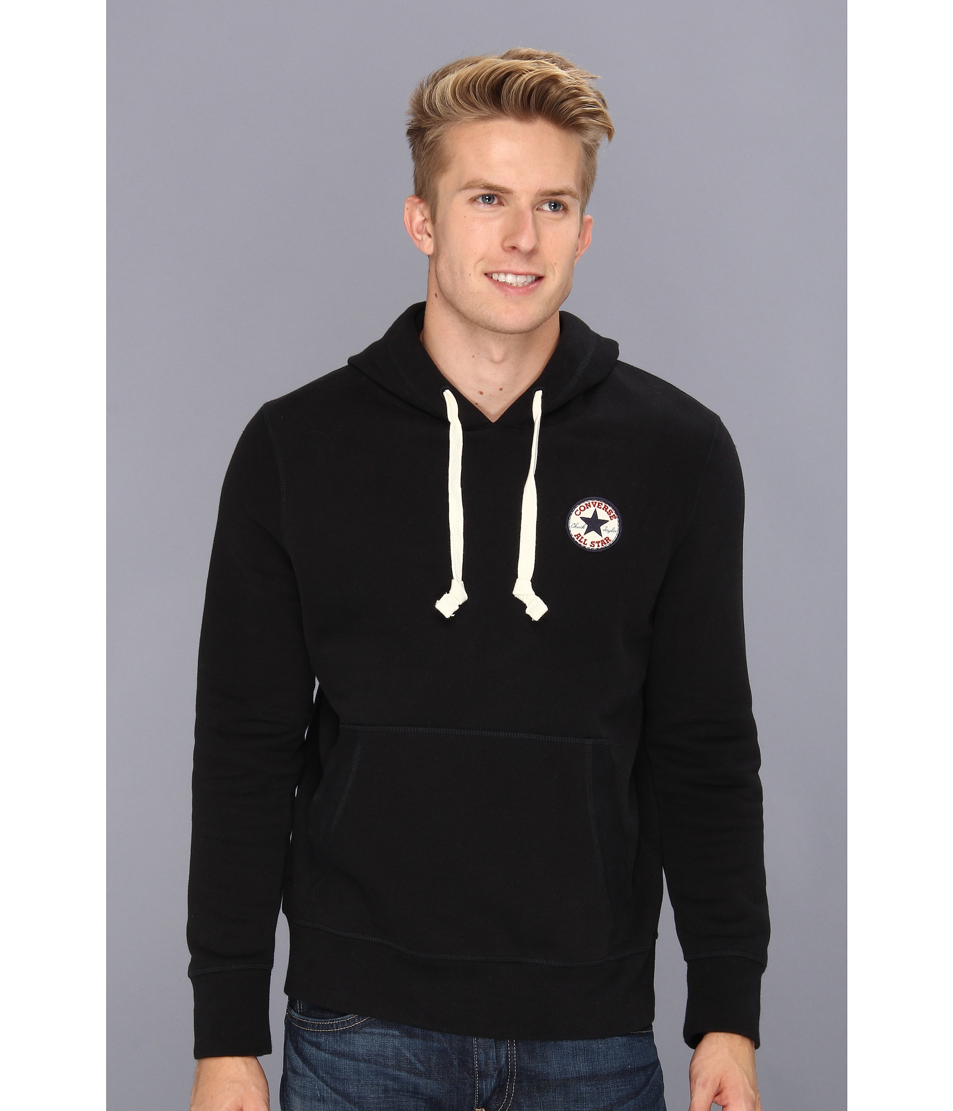 Lyst - Converse Core Chuck Patch Fleece Pullover Hoodie in Black for Men 1a564887646d