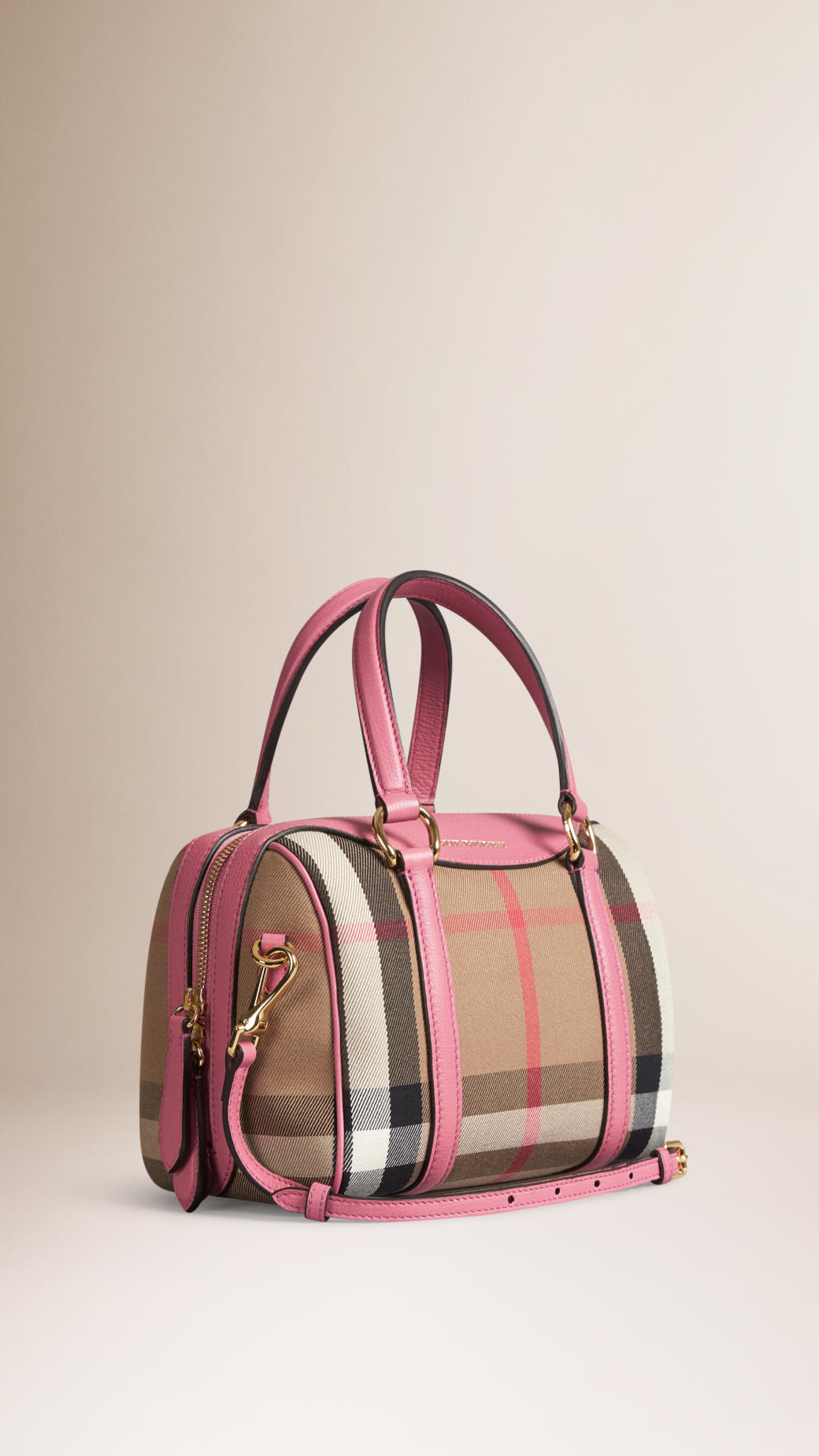 0fb071f0907 Burberry The Small Alchester In House Check And Leather in Purple - Lyst
