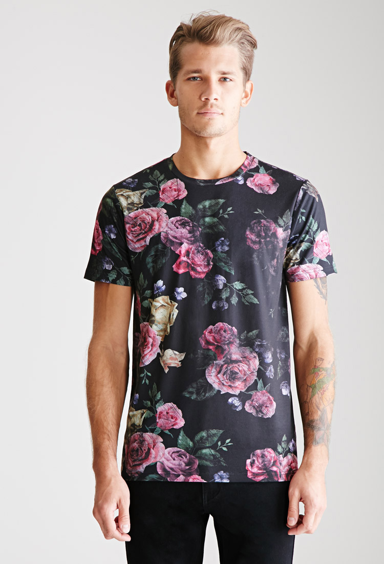 Lyst Forever 21 Faded Rose Print Tee In Black For Men