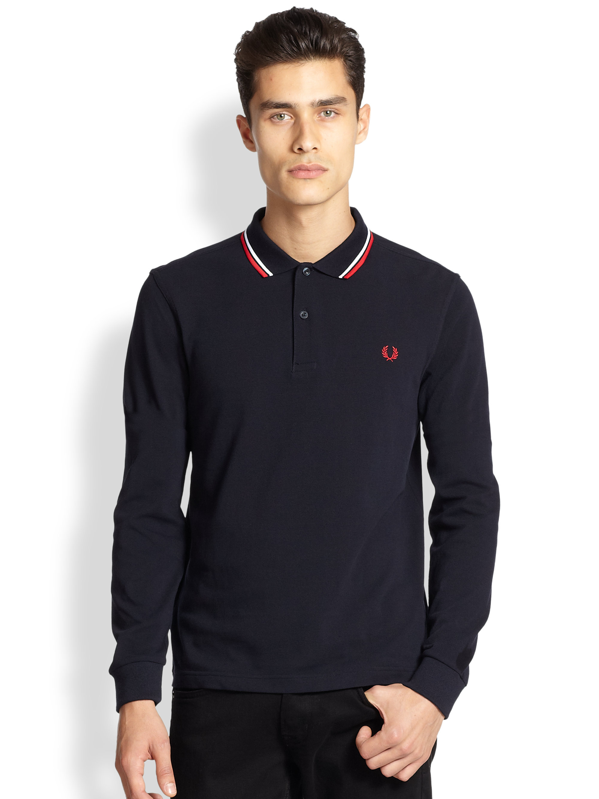fred perry twin tipped polo in blue for men lyst. Black Bedroom Furniture Sets. Home Design Ideas