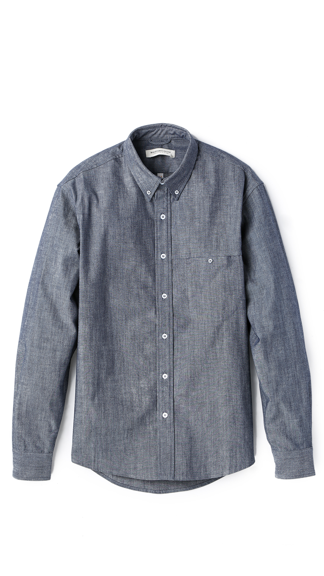 Raleigh denim welt pocket chambray shirt in blue for men for Chambray jeans
