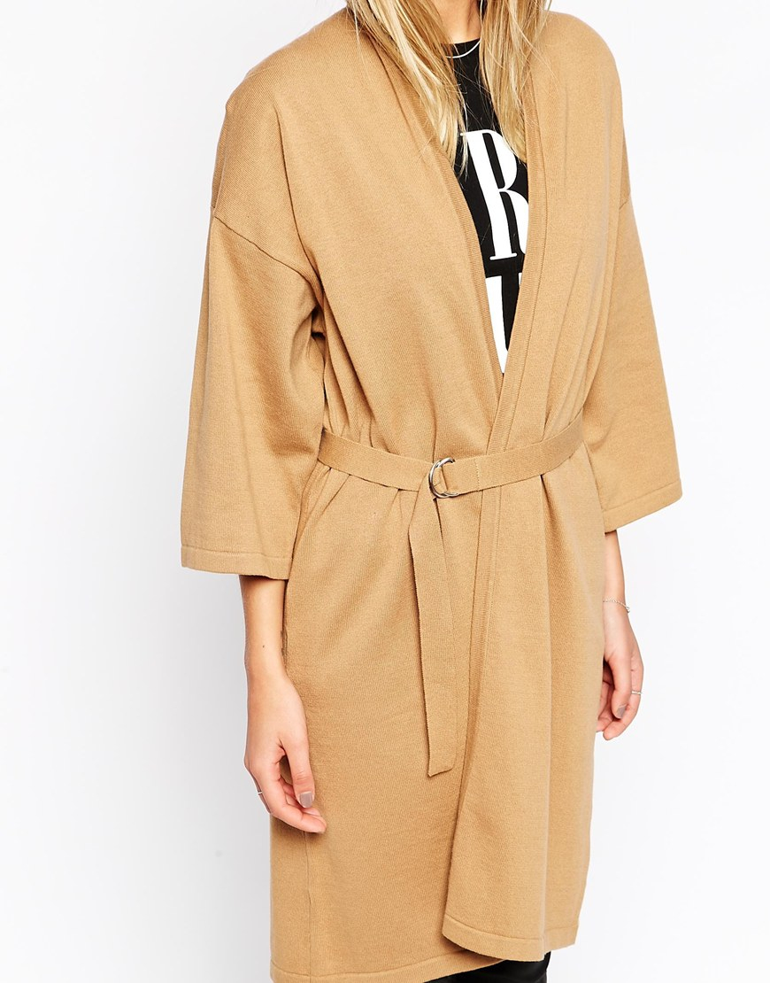 Asos Longline Wrap Cardigan With Belt And Kimono Sleeve in Brown ...