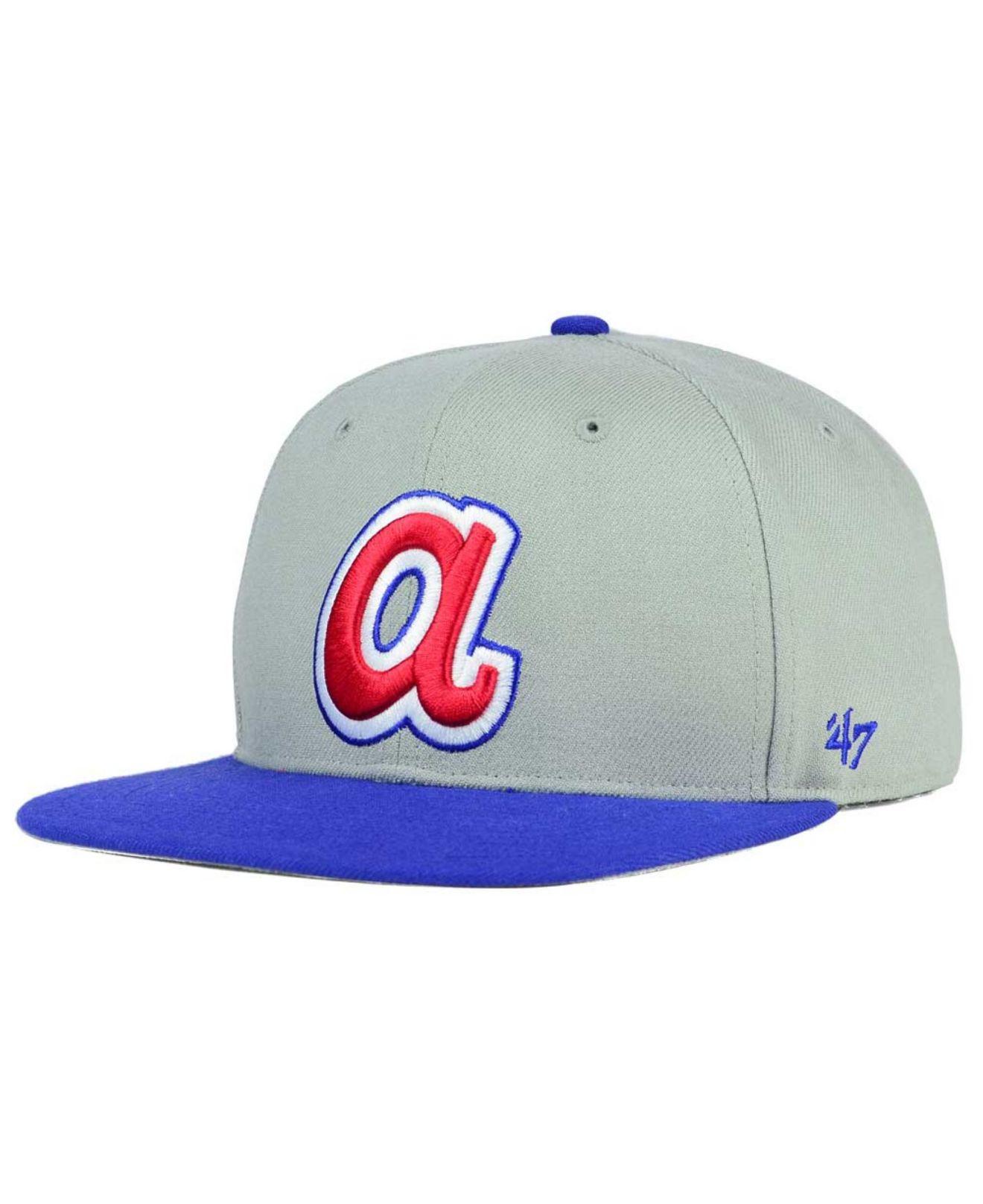 298e88c2 47 Brand Atlanta Braves Sure Shot Snapback Cap in Gray for Men - Lyst