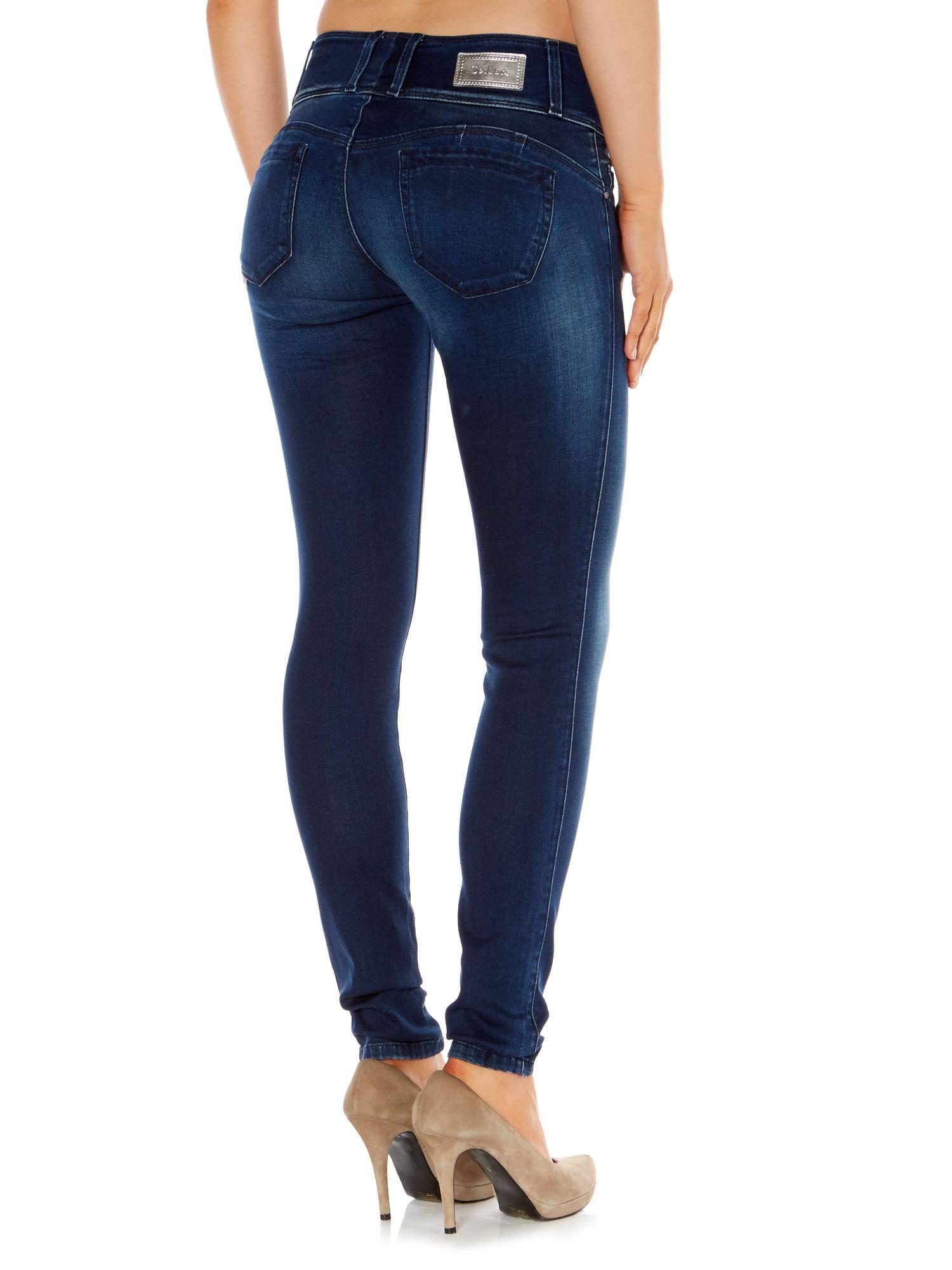 lyst salsa mystery curve skinny jeans in blue. Black Bedroom Furniture Sets. Home Design Ideas