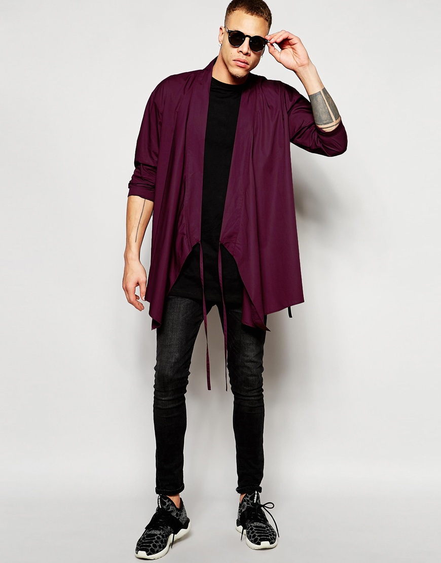 Lyst Asos Wrap Around Kimono In Burgundy In Purple For Men