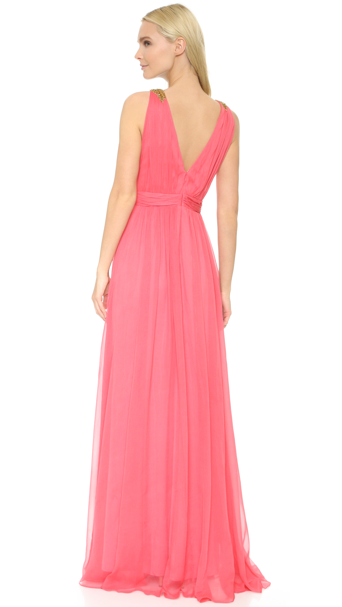 Notte by marchesa Plunge Gown in Pink  Lyst