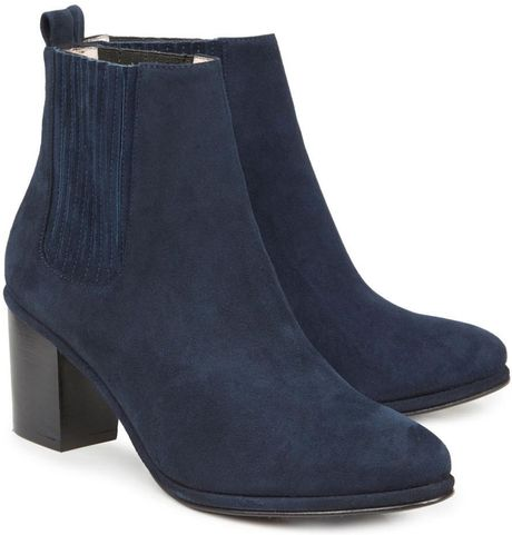 opening ceremony brenda navy suede ankle boots in blue