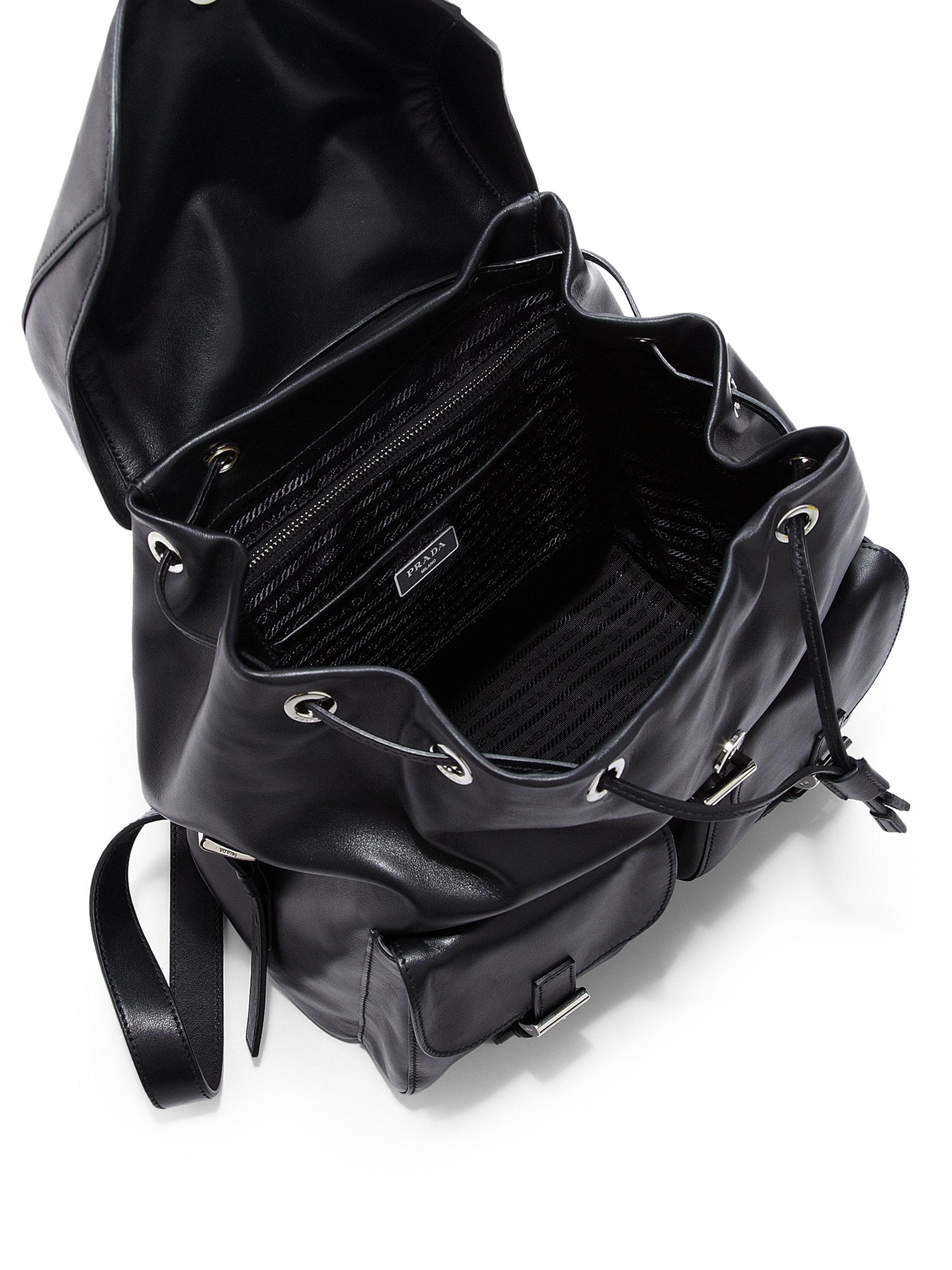 f9834137d8d0 ... inexpensive lyst prada soft calf double pocket backpack in black 49552  cbfa4
