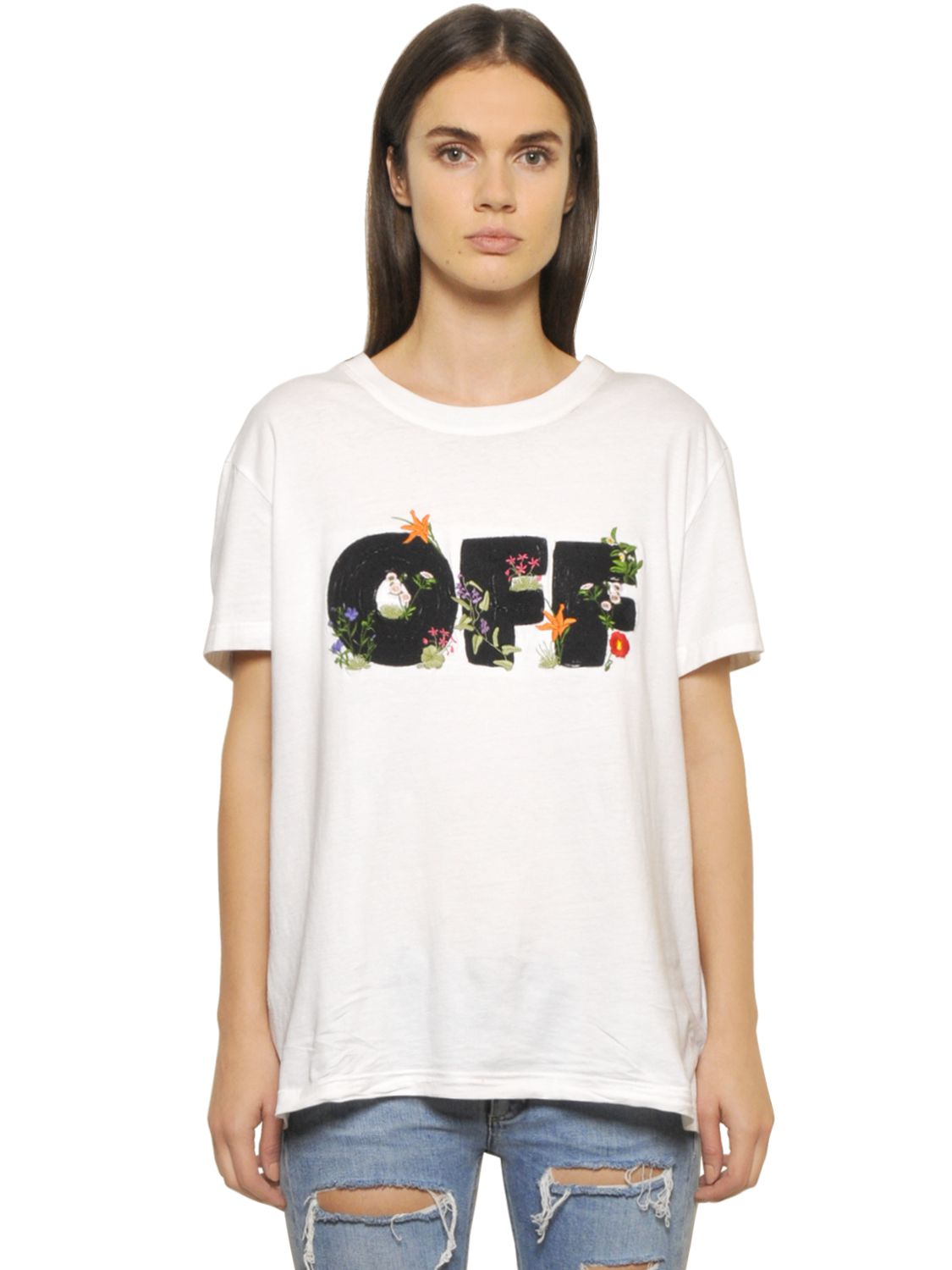 Lyst - Off-White c o Virgil Abloh Flower Embroidered Cotton Jersey T ... cc07bb47fd