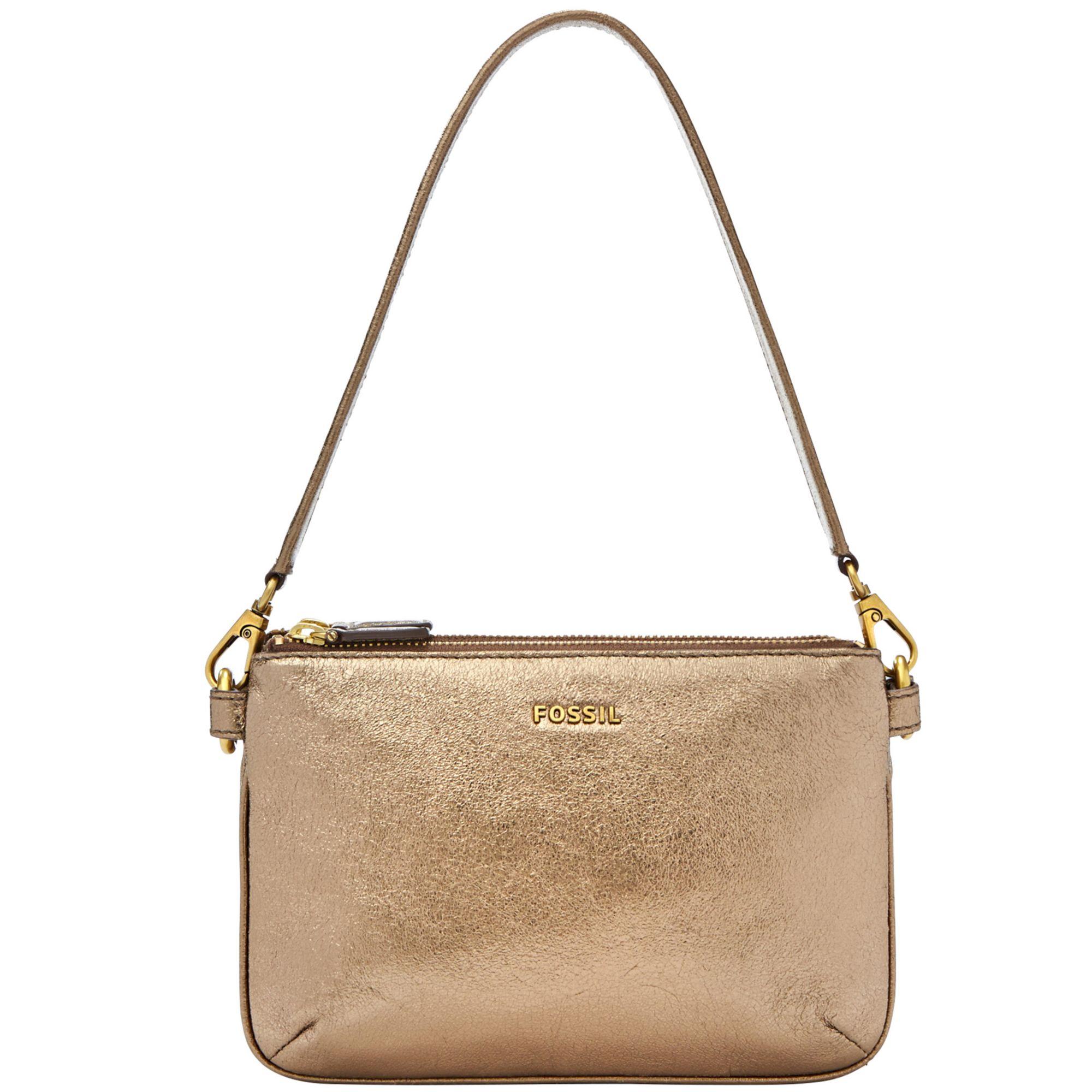 Fossil Memoir Leather Pocketbook Top Zip Shoulder Bag in Metallic ...