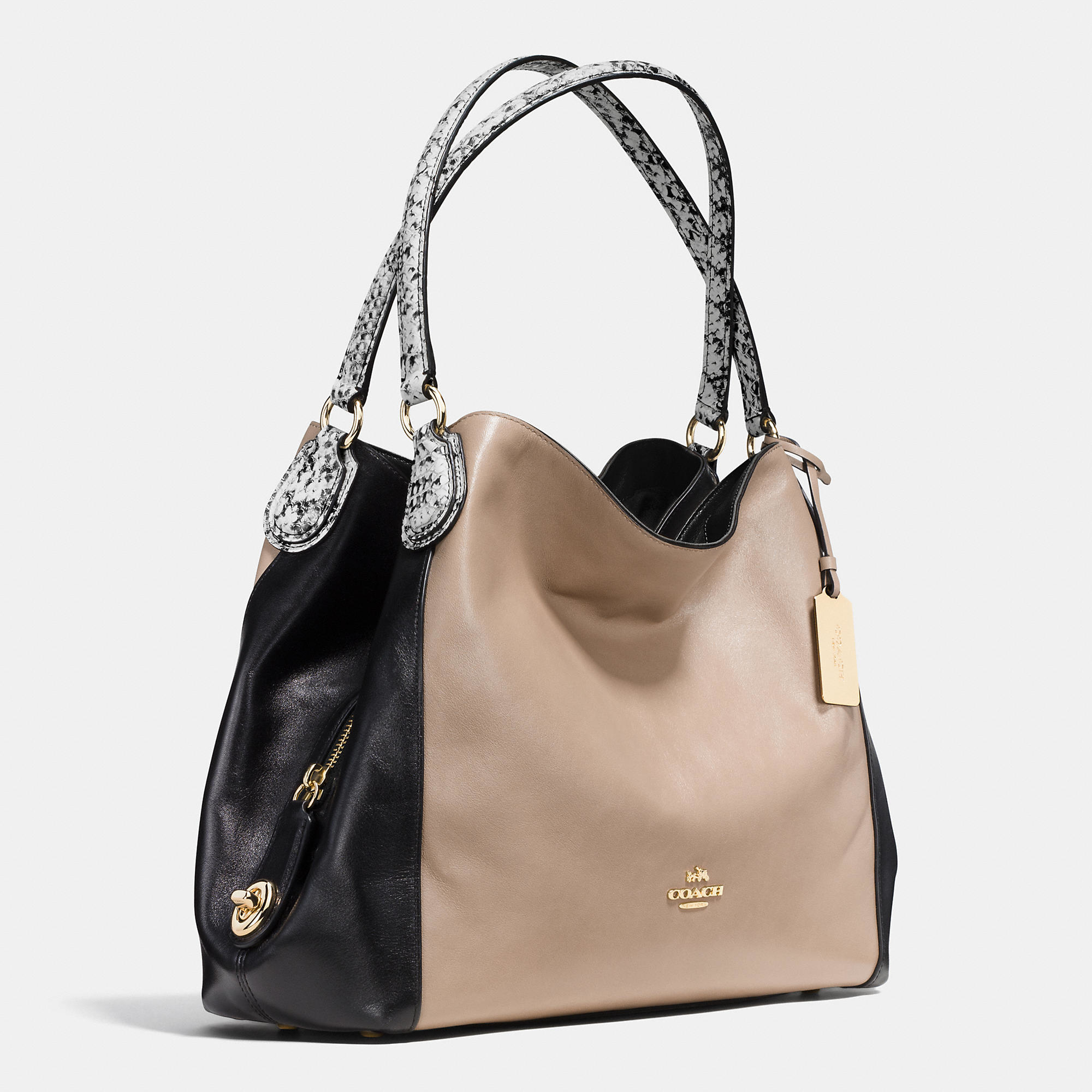35599dae1c ... discount lyst coach edie 31 color blocked shoulder bag in natural 74bc2  43558