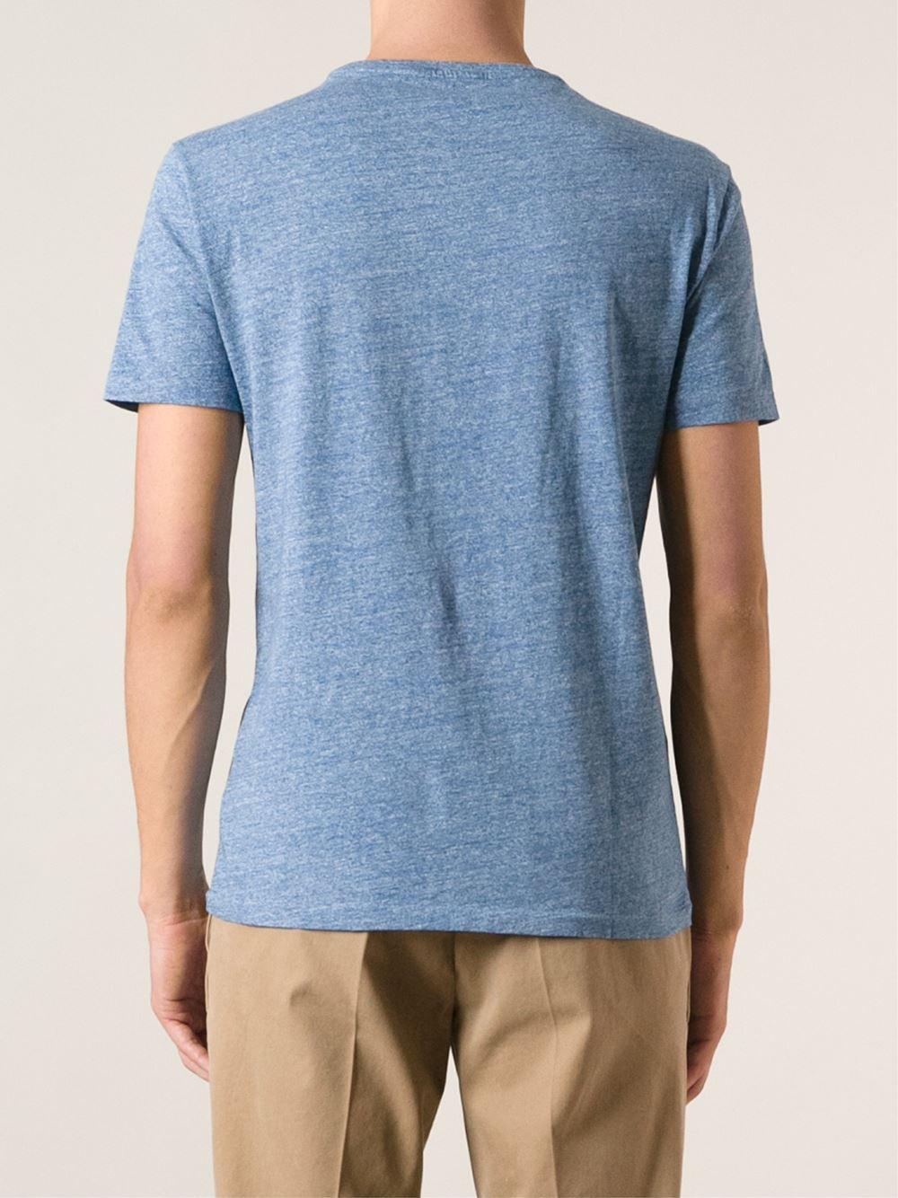 Polo ralph lauren custom fit t shirt in blue for men lyst for Polo custom fit t shirts