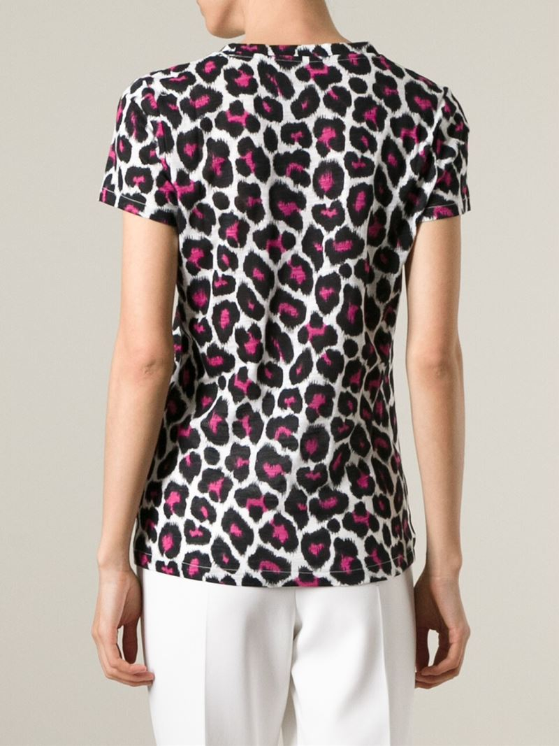 Lyst Michael Michael Kors Leopard Print T Shirt In Black