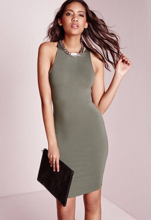 681af2759507 Lyst - Missguided Jersey Racer Bodycon Dress Khaki in Green