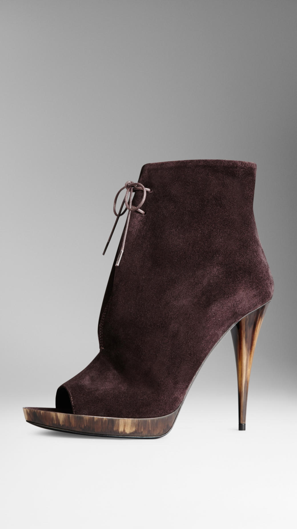 Burberry Suede Peep-Toe Ankle Boots in Purple