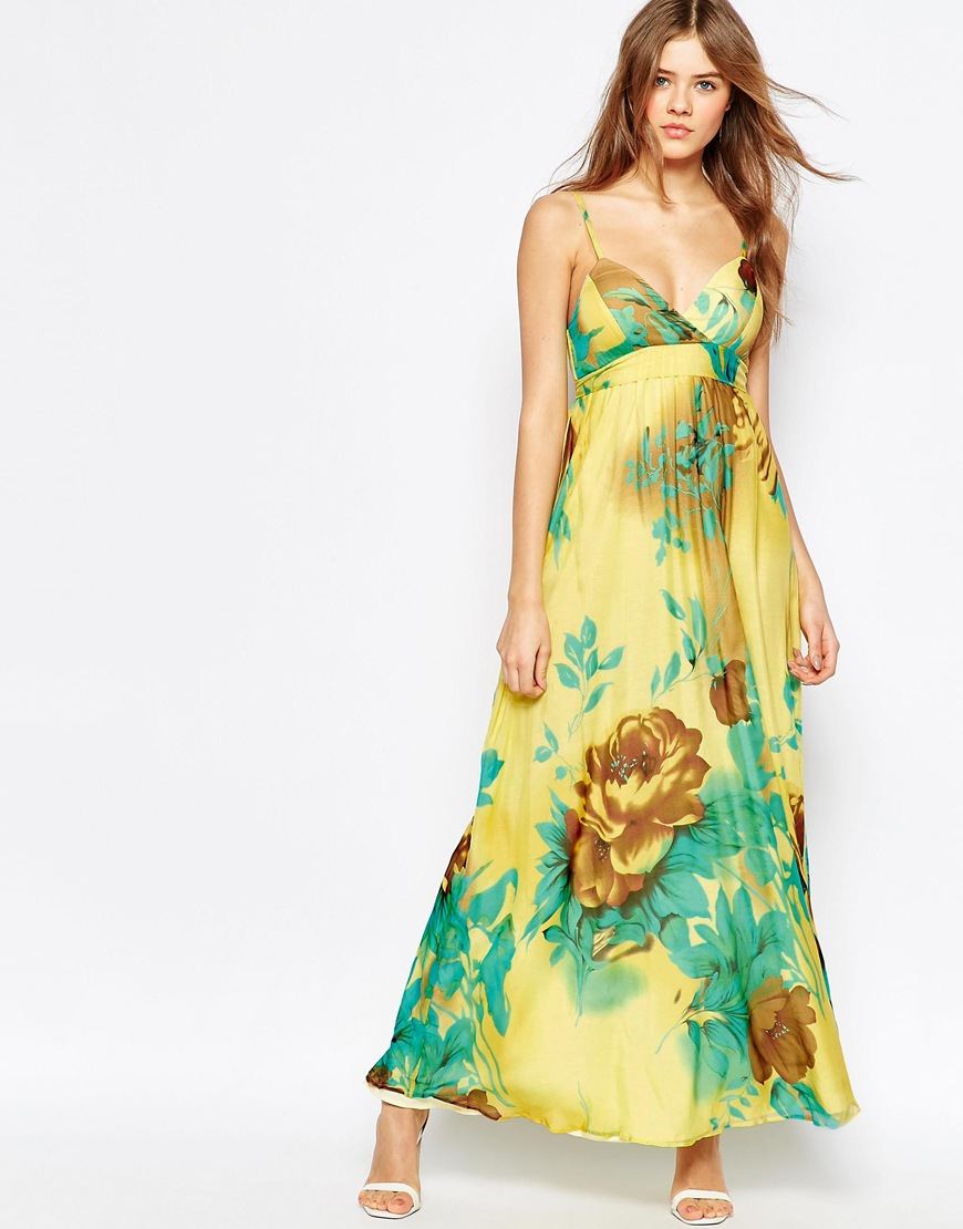 c804093627c2 Traffic People Silk Cami Maxi Dress In Floral Print in Yellow - Lyst