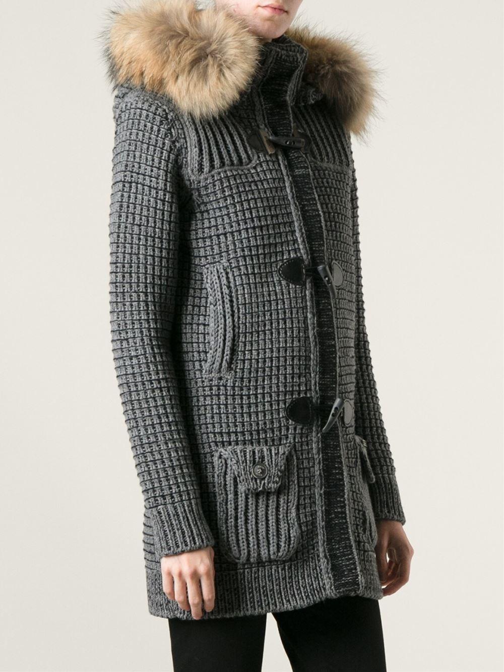 Bark Knit Duffle Coat in Gray   Lyst