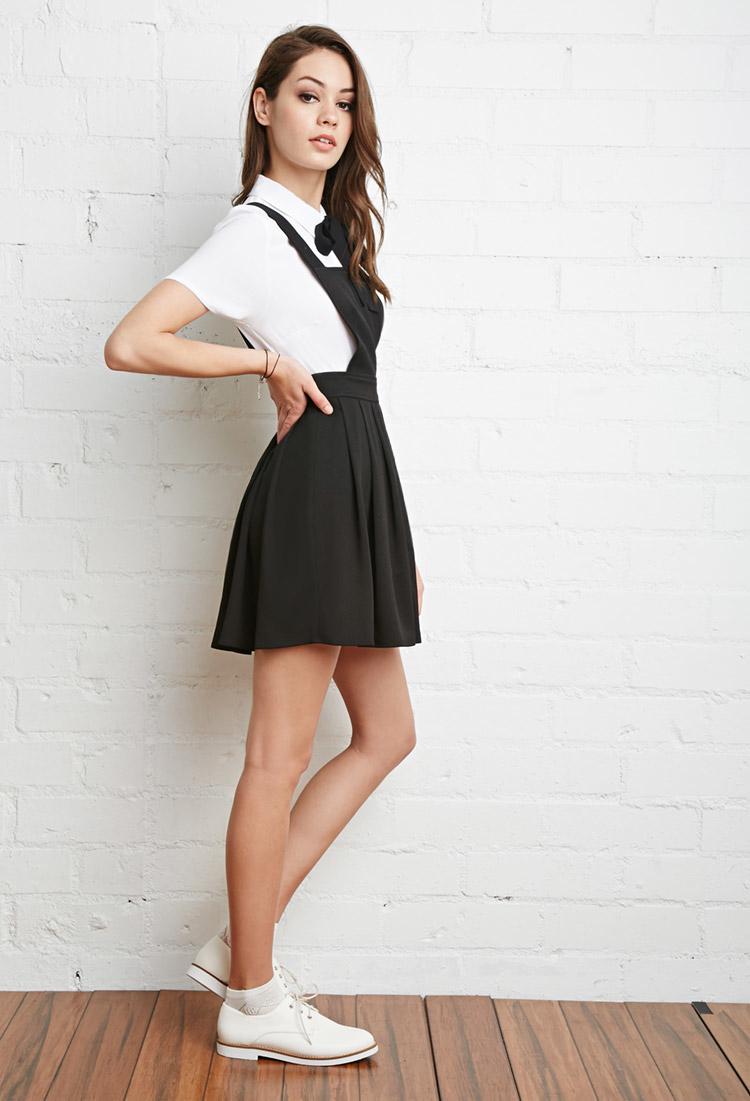 Black Overall Dress Lyst - Forever 21 Plea...