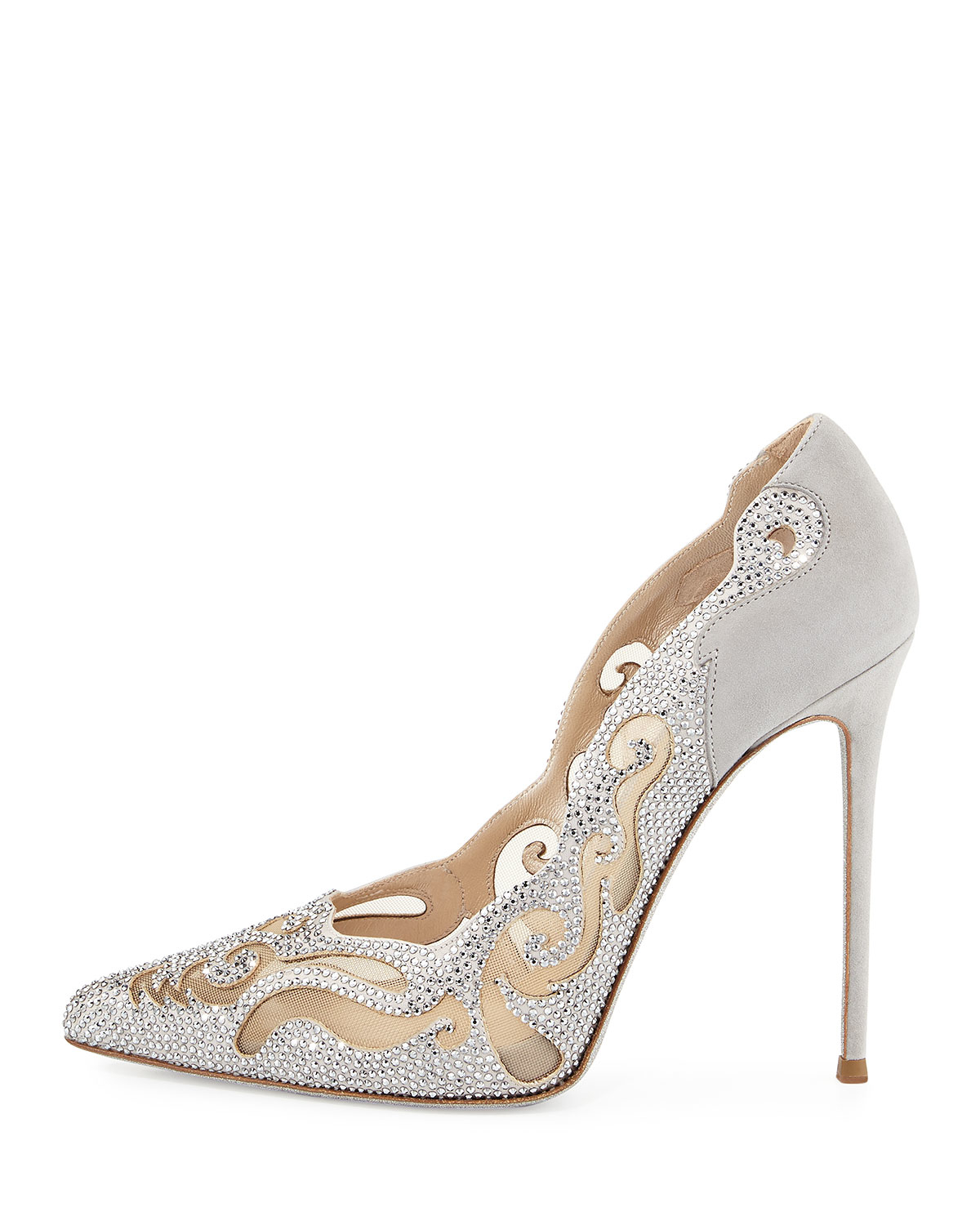 Snake Crystal-embellished Satin Pumps - Neutral Rene Caovilla