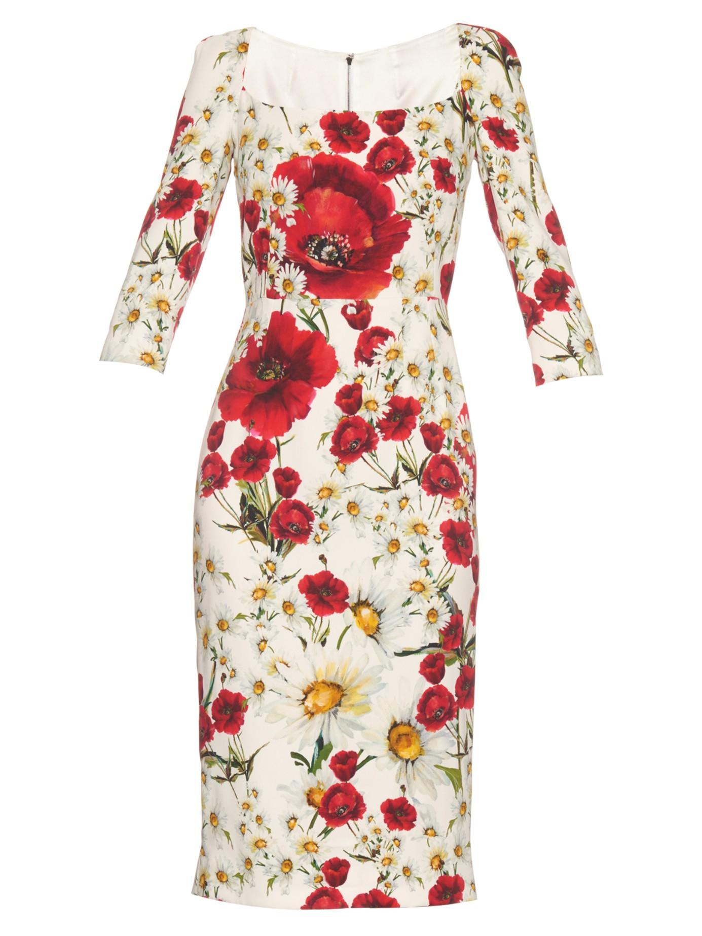 09e0d55b5f8 Lyst - Dolce   Gabbana Daisy And Poppy-print Crepe Midi Dress in White
