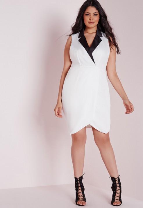 Lyst Missguided Plus Size Collared Tuxedo Midi Dress White In Black
