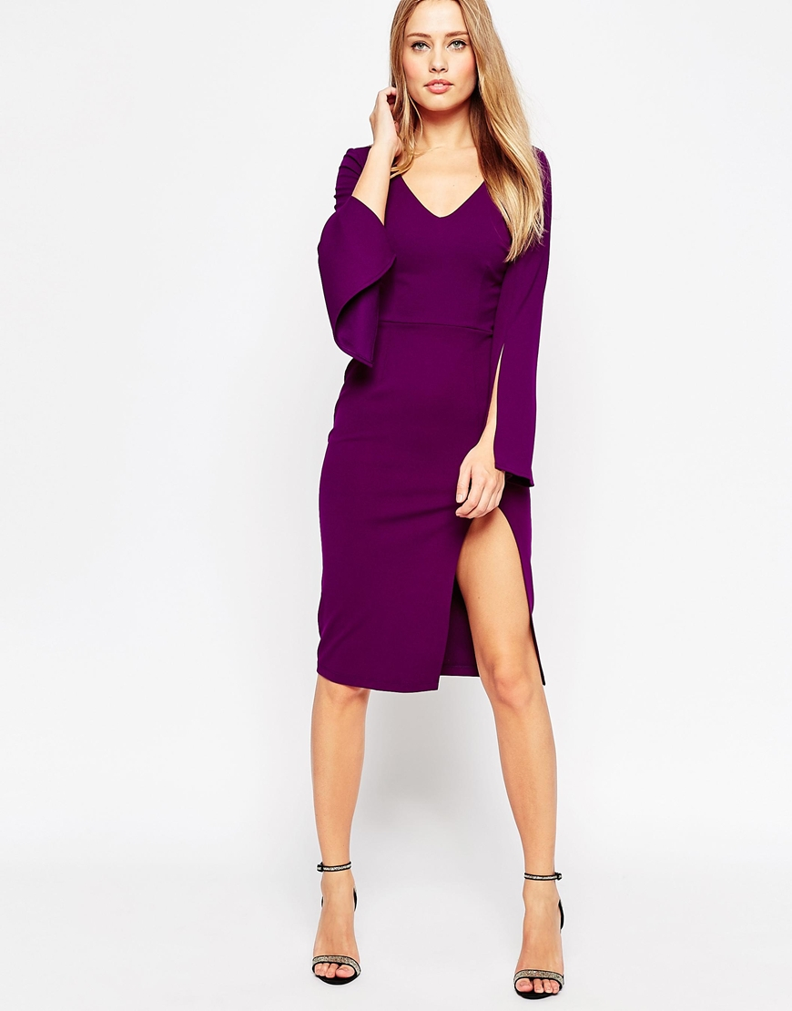 Lyst - Asos Plunge Neck Pencil Dress in Purple