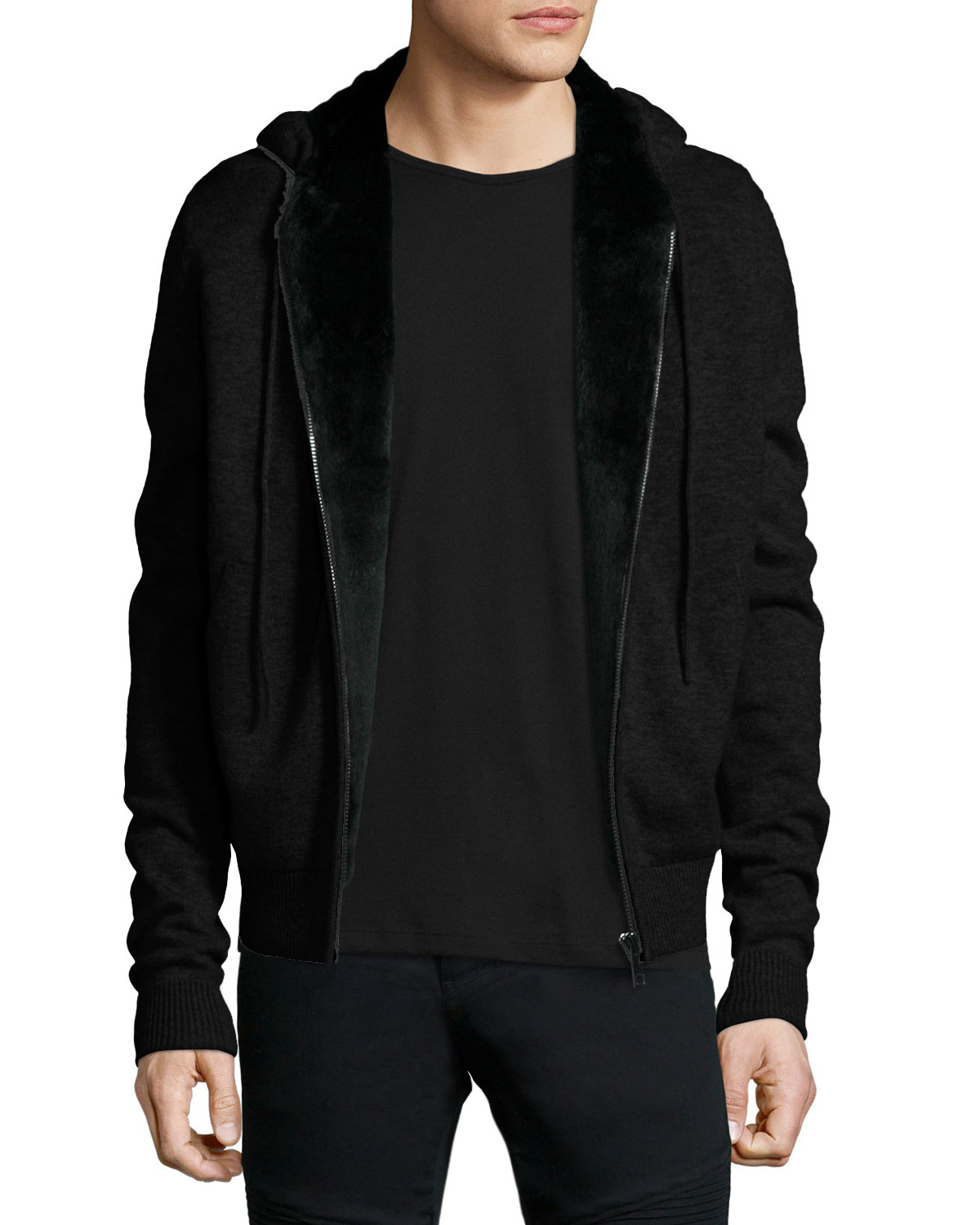 Yves Salomon Fur-Lined Woolcashmere Zip-Front Knit Hoodie -1863