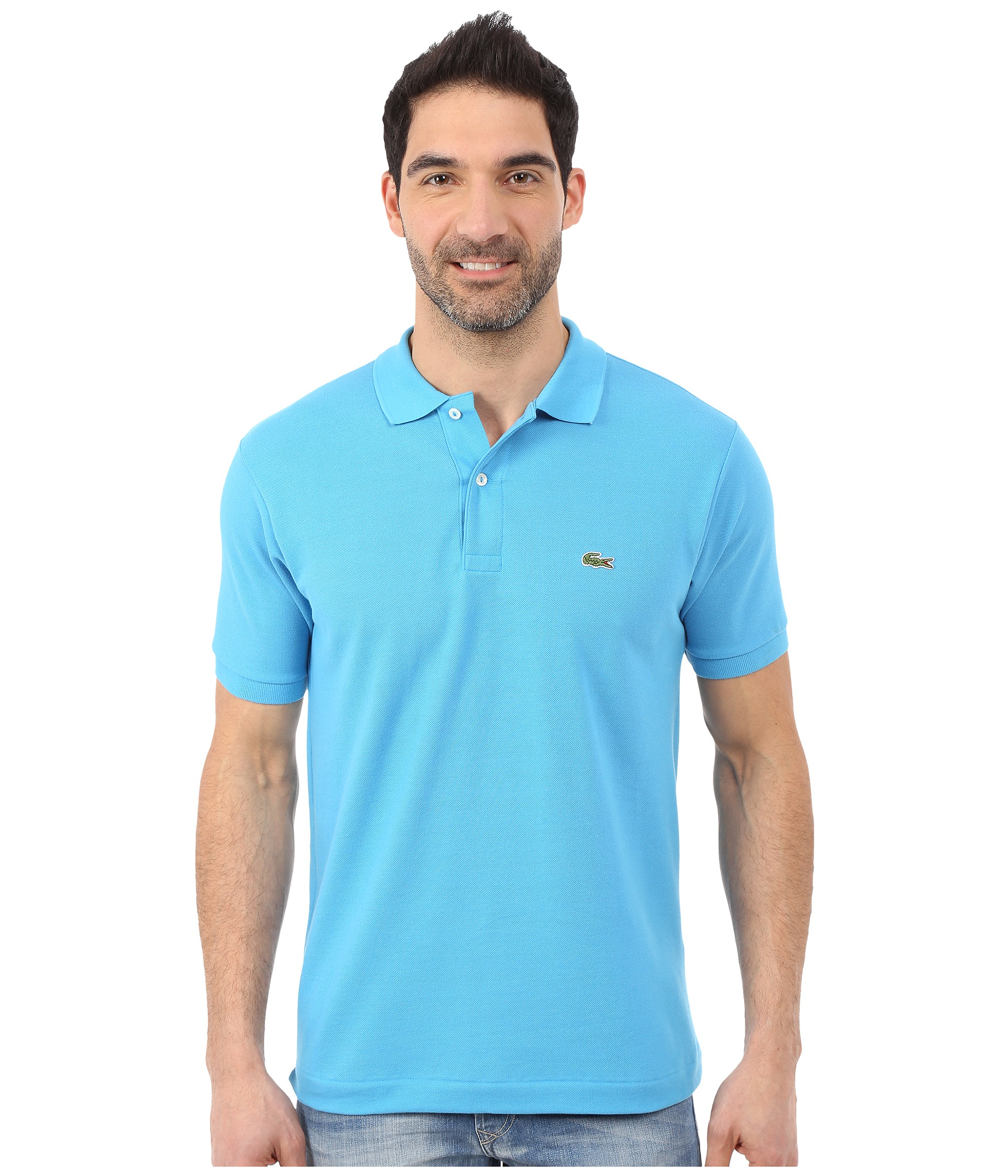 lacoste l1212 classic pique polo shirt in blue for men lyst