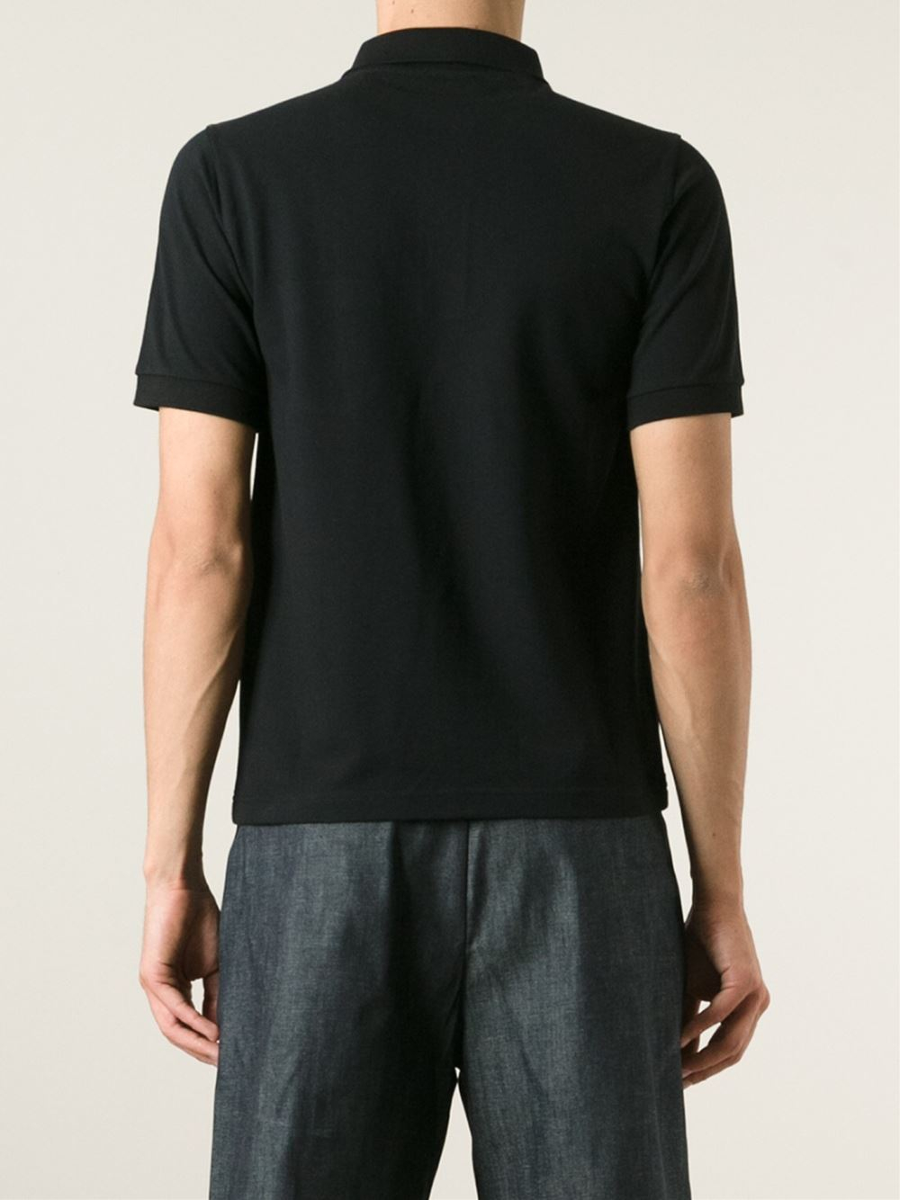Lyst raf simons floral pocket cotton polo shirt in black for Men s cotton polo shirts with pocket