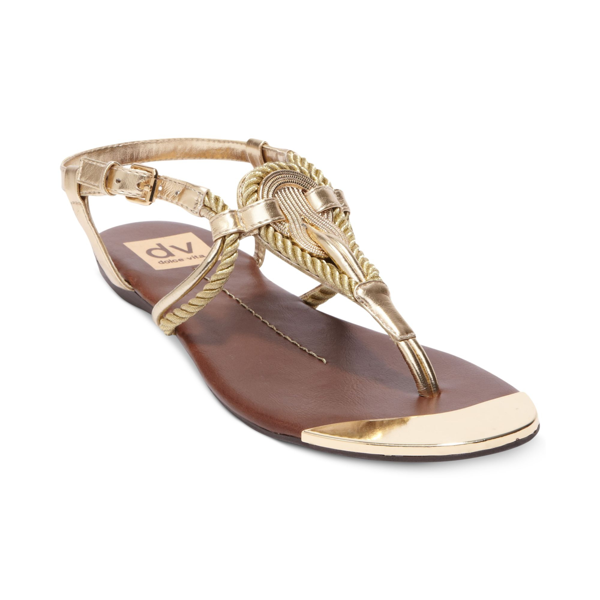 Dolce Vita Dv By Anica Flat Thong Sandals in Gold