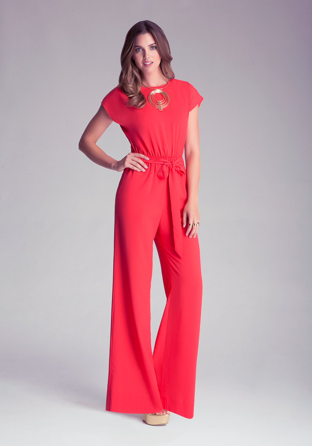 Bebe Wide Leg Jumpsuit in Red | Lyst