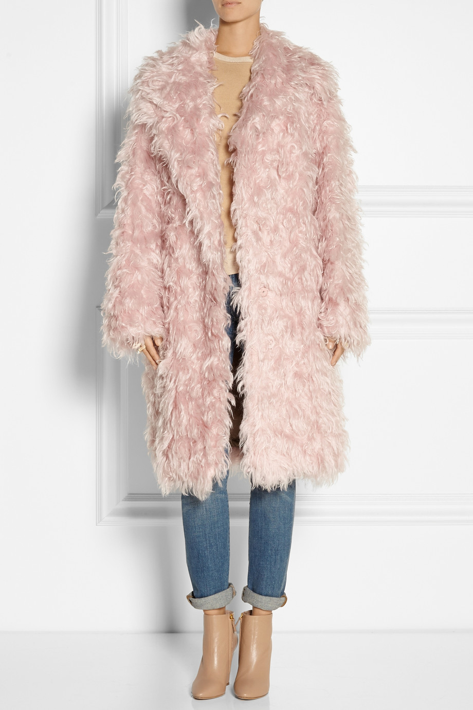 N°21 Casire Oversized Mohair-Blend Faux Shearling Coat in Pink | Lyst