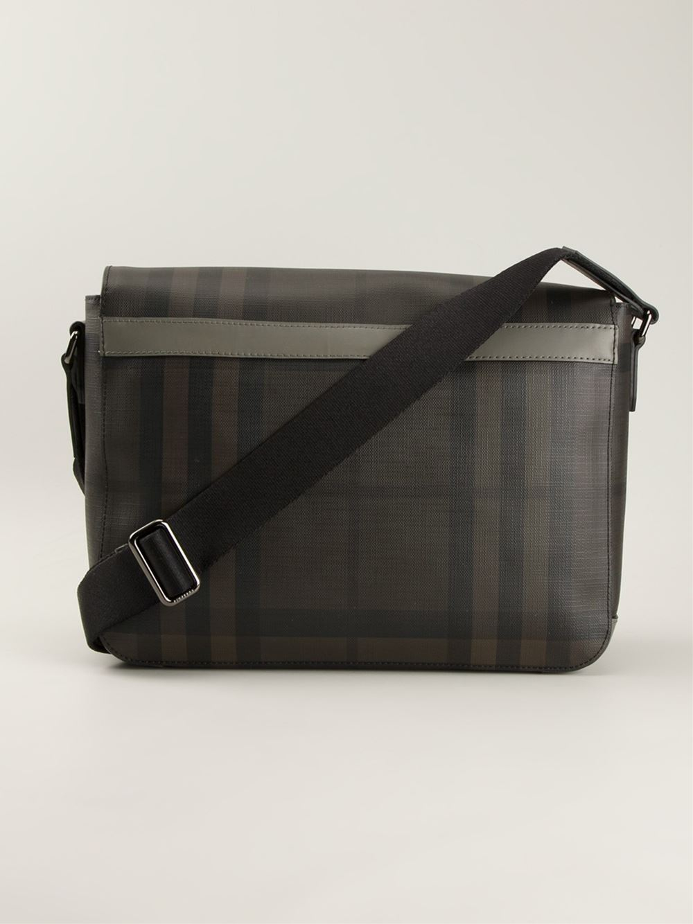 Lyst Burberry Small Smoked Check Messenger Bag In Gray