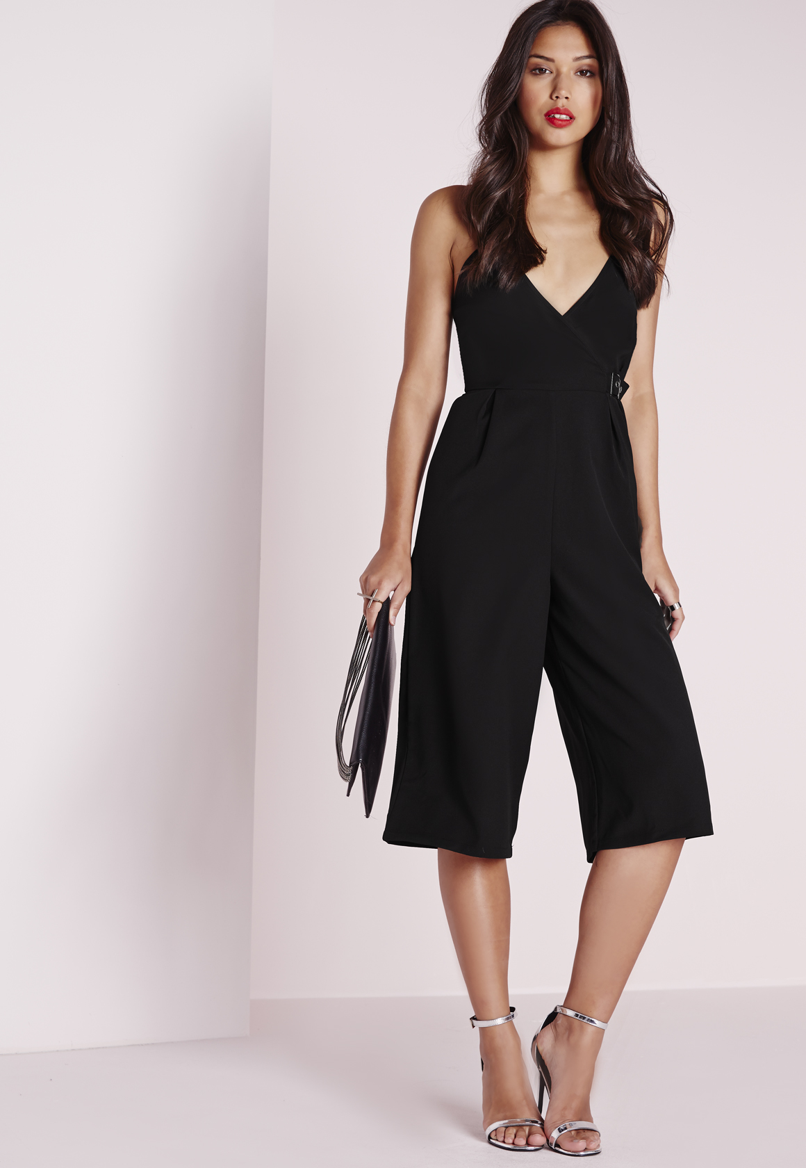 5673e73c63d4 Missguided Crepe Strappy Culotte Jumpsuit Buckle Detail Black in ...