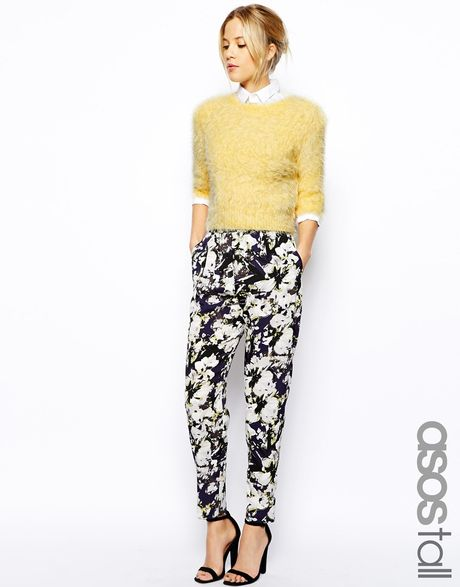 Asos Tall Cigarette Pants With High Waist In Floral Print ...