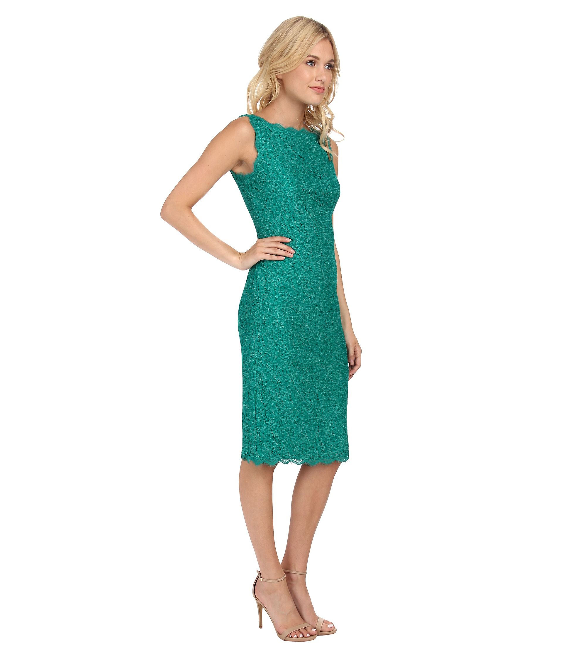 Adrianna papell Sleeveless Mid Length Lace Cocktail Dress in Green ...