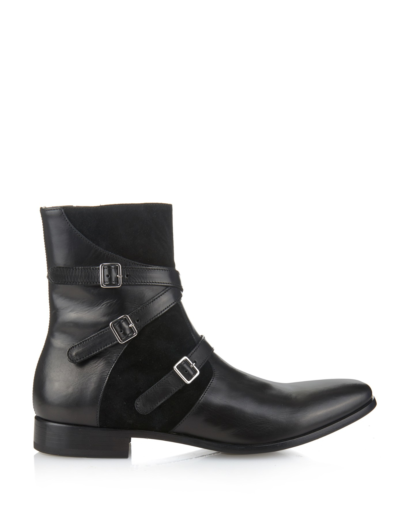 mcqueen leather and suede boots in black for