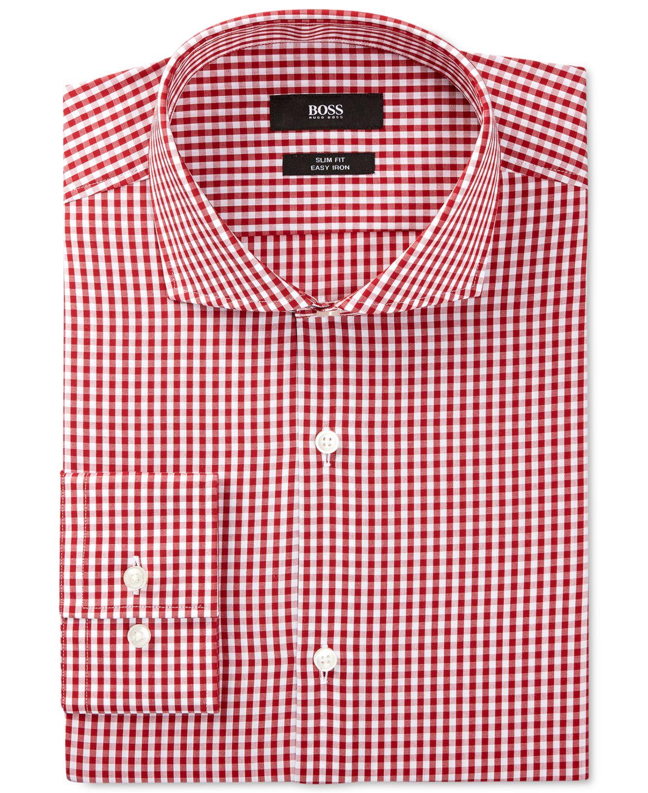 Lyst boss boss slim fit gingham dress shirt in red for men for Men s red gingham dress shirt