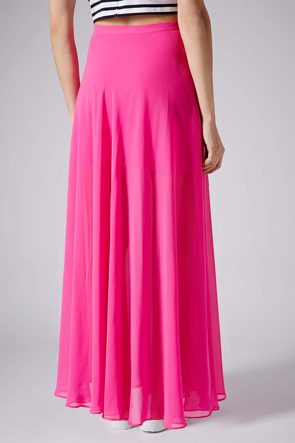 Topshop Pink Chiffon Maxi Skirt in Pink | Lyst