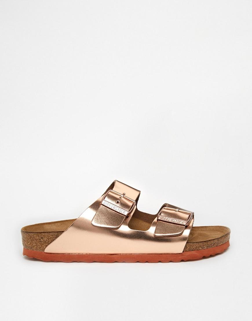 eeb971b807c Lyst - Birkenstock Arizona Metallic Leather Copper Flat Sandals in ...