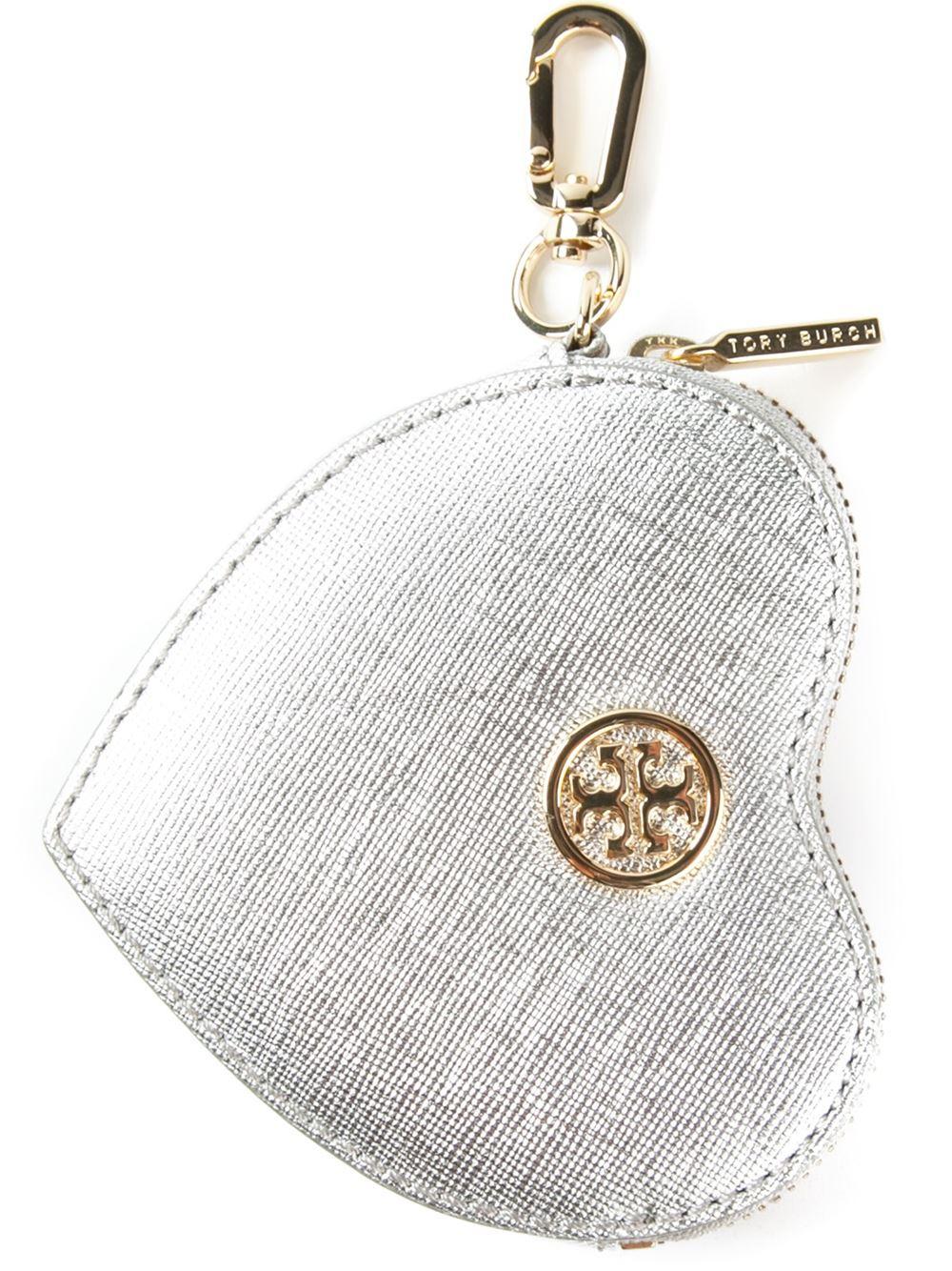 5415baf4e13d Lyst - Tory Burch Heart Coin Case Key Fob in Metallic