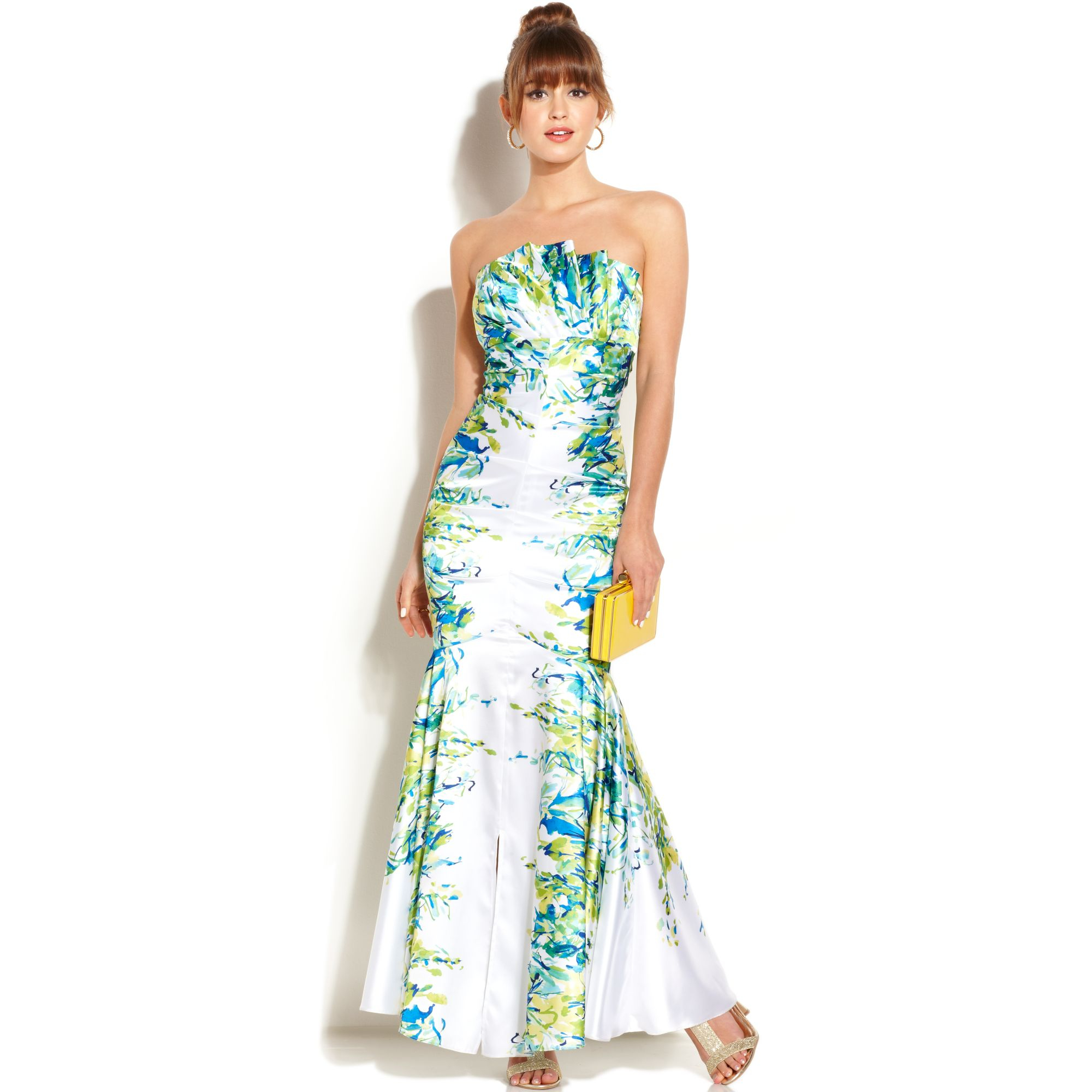 Lyst - Jump Juniors Strapless Printed Mermaid Gown in White