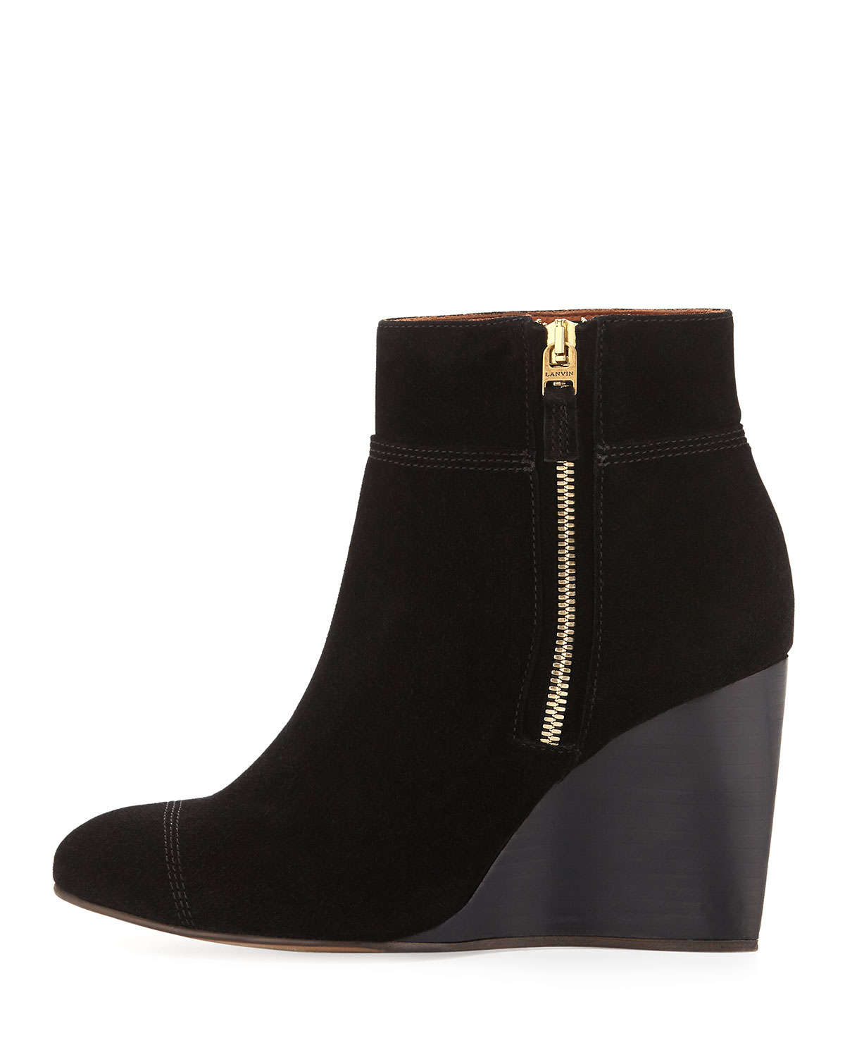 Black Suede Sheepskin Shoes Side Zip Wedge Heel