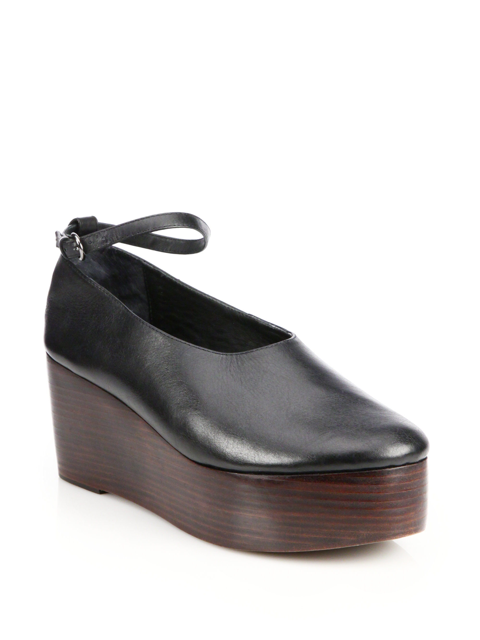 tibi jemma leather platform wedge shoes in black lyst