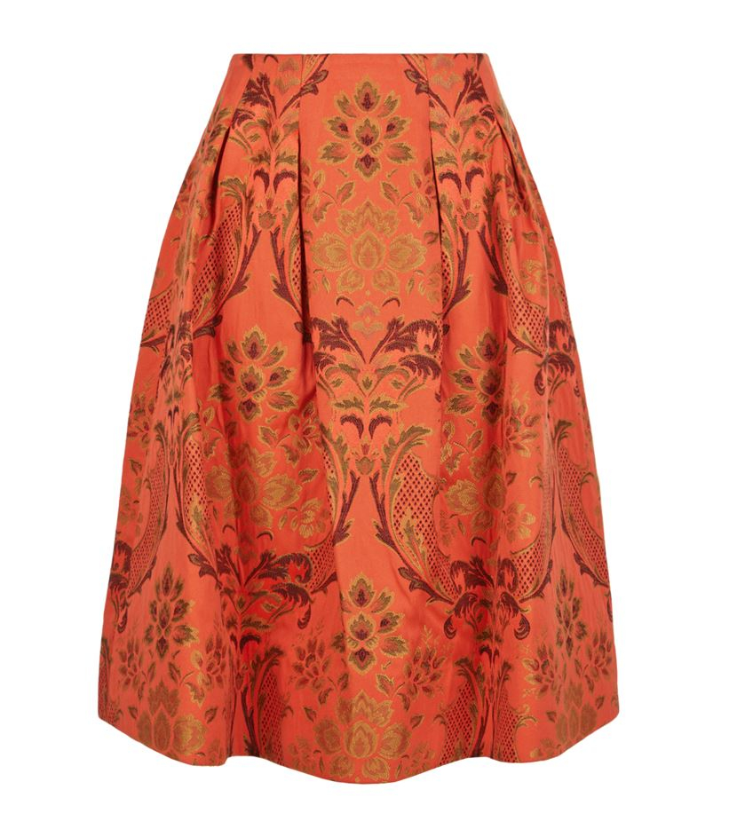 luisa floral jacquard midi skirt in orange